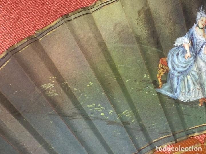 Antigüedades: ABANICO. VARILLAJE EN CAREY O ASTA. TELA PINTADA. ESPAÑA. FIN SIGLO XIX - Foto 11 - 86283000