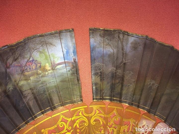 Antigüedades: ABANICO. VARILLAJE EN CAREY O ASTA. TELA PINTADA. ESPAÑA. FIN SIGLO XIX - Foto 17 - 86283000