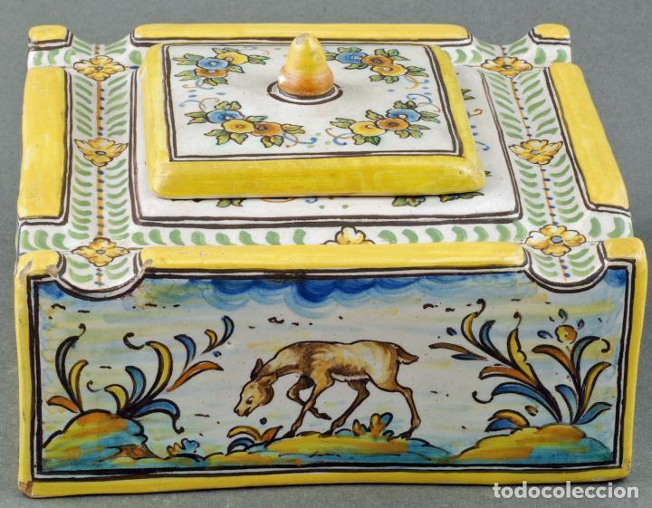 TINTERO CON TAPA CERÁMICA TALAVERA RUIZ DE LUNA S XX (Antigüedades - Porcelanas y Cerámicas - Talavera)