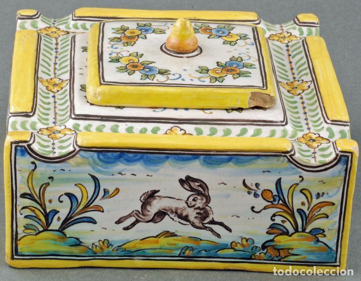 Antigüedades: Tintero con tapa cerámica Talavera Ruiz de Luna S XX - Foto 2 - 86286444