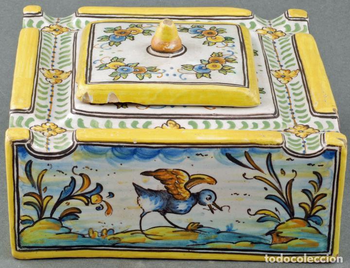 Antigüedades: Tintero con tapa cerámica Talavera Ruiz de Luna S XX - Foto 3 - 86286444
