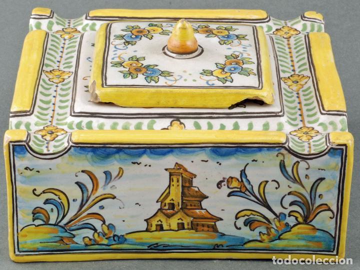 Antigüedades: Tintero con tapa cerámica Talavera Ruiz de Luna S XX - Foto 4 - 86286444