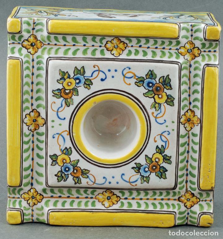 Antigüedades: Tintero con tapa cerámica Talavera Ruiz de Luna S XX - Foto 5 - 86286444