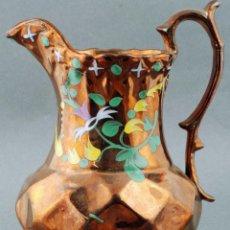 Antigüedades: JARRA PICO BRISTOL REFLEJO METALICO S XIX DECORACIÓN FLORES. Lote 86288424