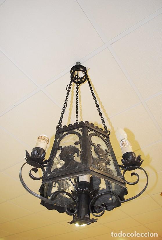 FAROL DE TECHO ANTIGUO DE FORJA (Antigüedades - Iluminación - Faroles Antiguos)