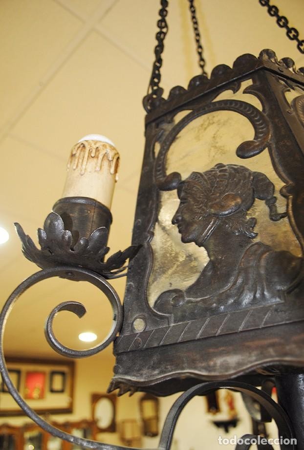 Antigüedades: FAROL DE TECHO ANTIGUO DE FORJA - Foto 3 - 86296412