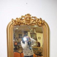 Antigüedades: ESPEJO ANTIGUO POLICROMADO EN PAN DE ORO.. Lote 86297804