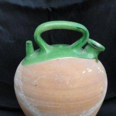 Antigüedades: BONITO BOTIJO DE CERÁMICA CORONA VIDRIADO VERDE. PROBABLEMENTE BAIX LLOBREGAT O BAGES.. Lote 86354136