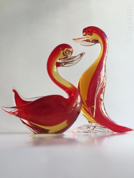PAREJA PATOS CRISTAL ARTISTICO DE MURANO COLOR ROJO AMARILLO Y TRANSPARENTE PATO (Antigüedades - Cristal y Vidrio - Murano)