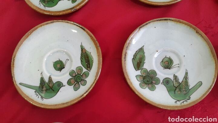 Antigüedades: JUEGO DE CAFÉ CERÁMICA PINTADO A MANO DE KEN EDWARDS EL PALOMAR MEXICO - Foto 3 - 86388222