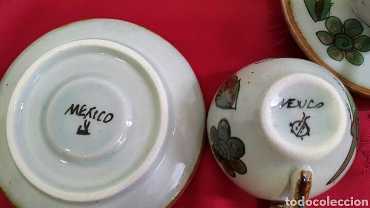 Antigüedades: JUEGO DE CAFÉ CERÁMICA PINTADO A MANO DE KEN EDWARDS EL PALOMAR MEXICO - Foto 5 - 86388222
