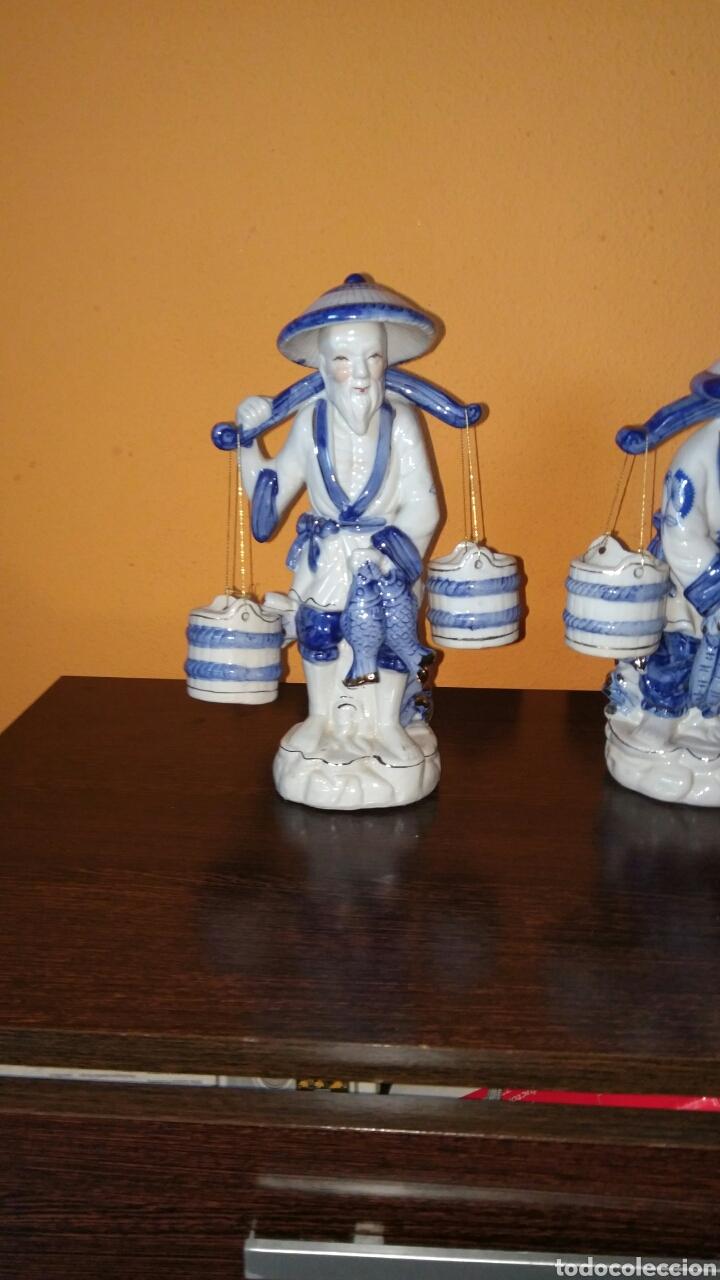 PRECIOSAS FIGURAS CHINAS DE PESCADORES CHINOS. (Antigüedades - Porcelanas y Cerámicas - China)