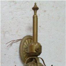 Antigüedades: FAROL DE BRONCE Y CRISTAL AL ACIDO. Lote 86408748