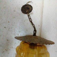 Antigüedades: FAROLILLO DE HIERRO Y CRISTAL. Lote 86409224