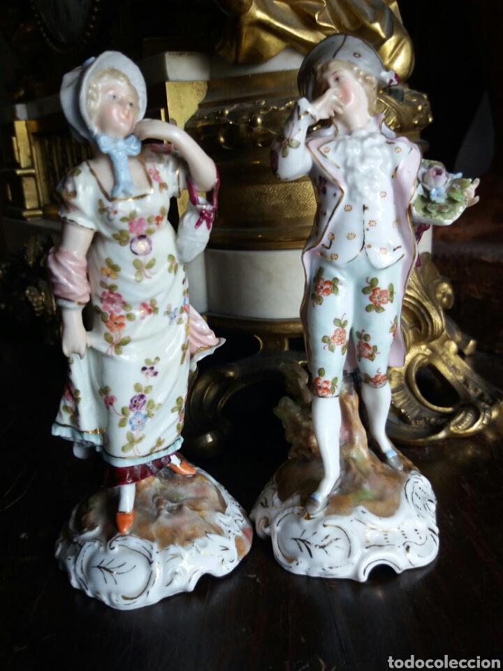 Antigüedades: PRECIOSA PAREJA DE PORCELANA FRANCESA - Foto 2 - 86413840
