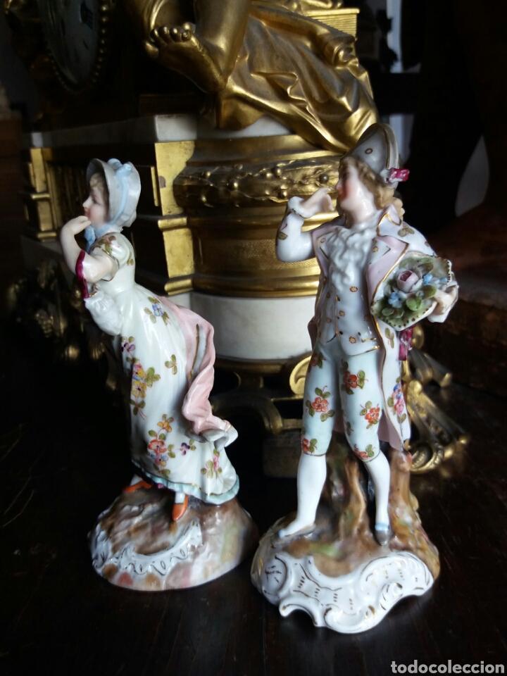 Antigüedades: PRECIOSA PAREJA DE PORCELANA FRANCESA - Foto 8 - 86413840