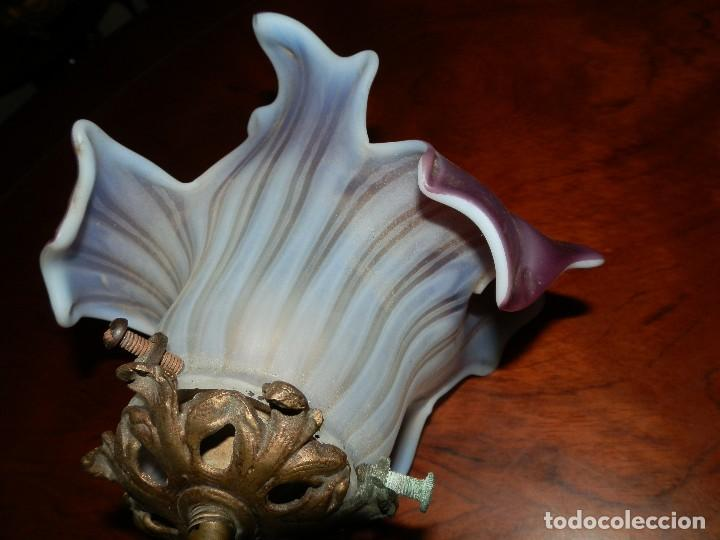 Antigüedades: ANTIGUO APLIQUE LATON CON PRECIOSA TULIPA MODERNISTA. - Foto 7 - 86430632