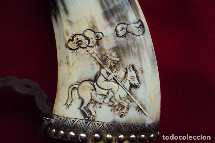 Antigüedades: Polvorera en asta de toro con grabados pastoriles - arte popular - zona de salamanca - Foto 4 - 86441356