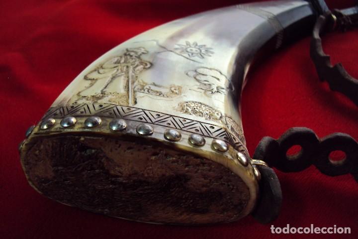 Antigüedades: Polvorera en asta de toro con grabados pastoriles - arte popular - zona de salamanca - Foto 7 - 86441356