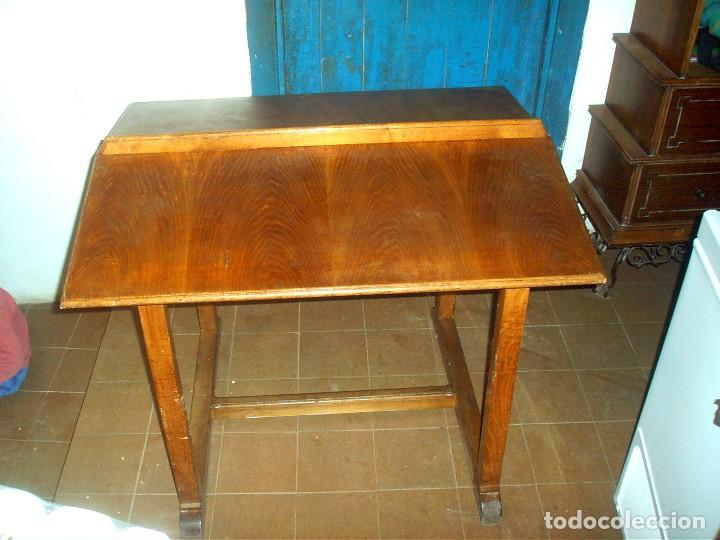 Preciosa antigua mesa de biblioteca de madera d comprar for Mesa biblioteca