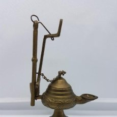 Antigüedades: PRECIOSA LAMPARA O LUCERNA ANTIGUA DE ACEITE EN BRONCE EN PERFECTO ESTADO.. Lote 86492532