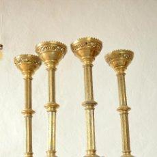 Antigüedades: 4 CANDELABROS ECLESIASTICOS, DE IGLESIA PARA ALTAR, LITURGIAS, SIGLO XIX. Lote 62356536