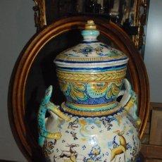 Antigüedades: ESPECTACULAR CENTRO ANTIGUO DE CERÁMICA TRIANA. Lote 86616616
