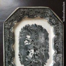 Antigüedades: BANDEJA CARTAGENA 35 X 27 ESCENA DE CAZA. Lote 86632916