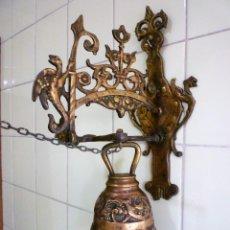 Antigüedades: GRAN CAMPANA LLAMADOR DE BRONCE MACIZA 2.700 GRS. PARA CAPILLA O ENTRADA DE FINCA. Lote 86636520