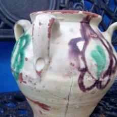 Antigüedades: ORZA O TINAJILLA PRECIOSA DE 4 ASAS,VIDRIADA Y DECORADA. Lote 86696840
