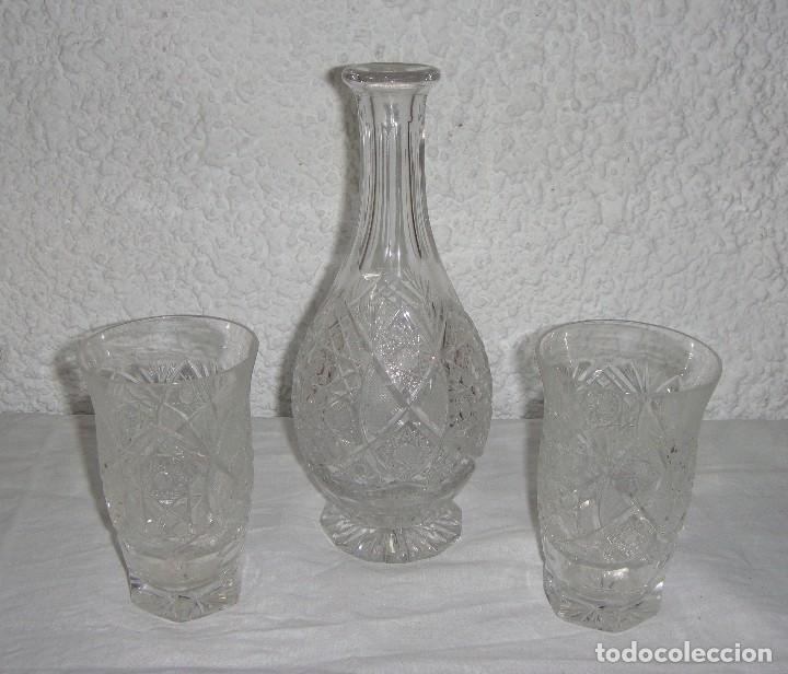 BOTELLA Y 2 VASOS DE CRISTAL DE BACCARAT. (Antigüedades - Cristal y Vidrio - Baccarat )