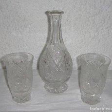 Antigüedades: BOTELLA Y 2 VASOS DE CRISTAL DE BACCARAT.. Lote 86739904