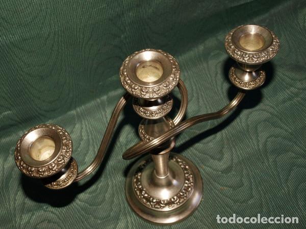 Antigüedades: Candelero candelabro metal plateado. c1940 - Foto 2 - 86750612