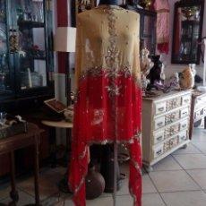 Antigüedades: CHAL - ECHARPE DE GEORGETTE DE SEDA CON BORDADOS A MANO - 2 METROS.. Lote 86789424