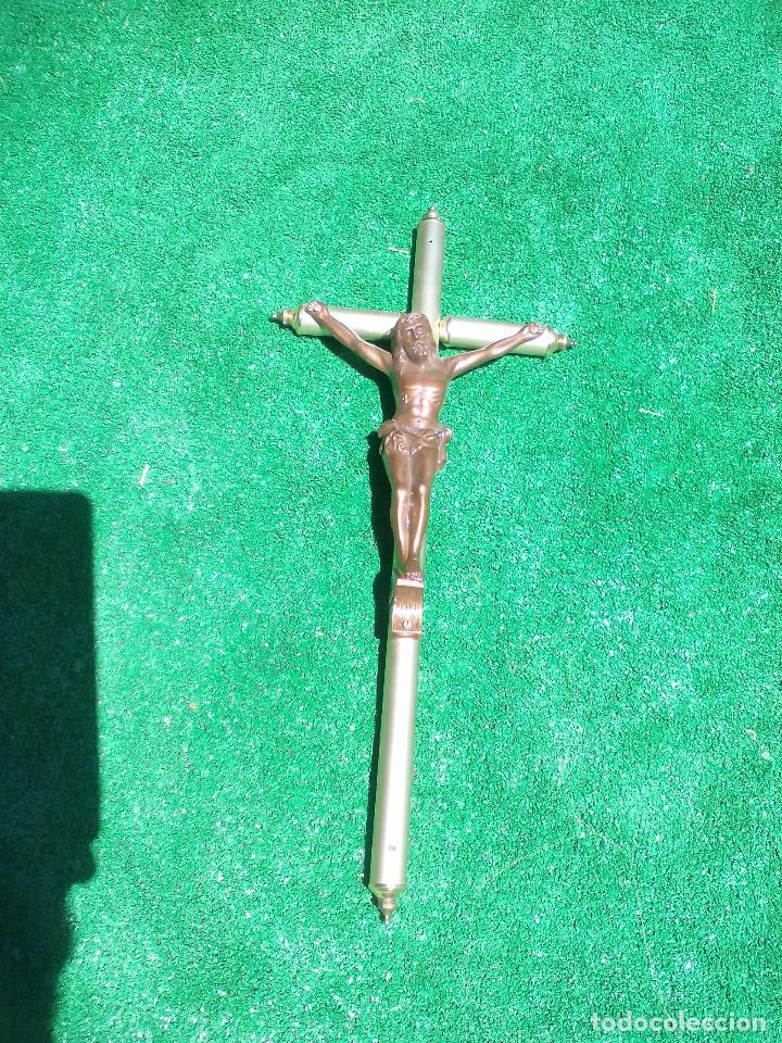 Antigüedades: Cricifijo, con cristo y cruz de metal. 59 x 26 cm - Foto 3 - 86801416
