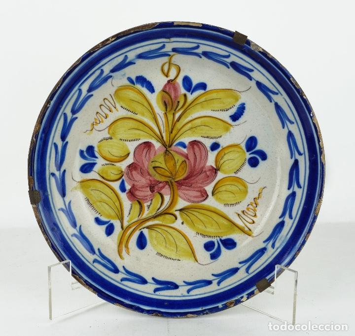 PLATO EN CERÁMICA DE MANISES COLORES FINALES SIGLO XIX (Antigüedades - Porcelanas y Cerámicas - Manises)