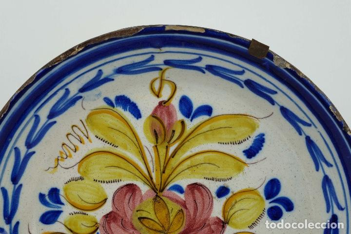 Antigüedades: Plato en cerámica de Manises colores finales siglo XIX - Foto 2 - 86835700