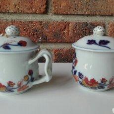 Antigüedades: 2 BOTES DE CREMA EN PORCELANA PARA CAFE O LECHE DE LA MARCA PORTUGUESA VISTA ALEGRE. Lote 86838326