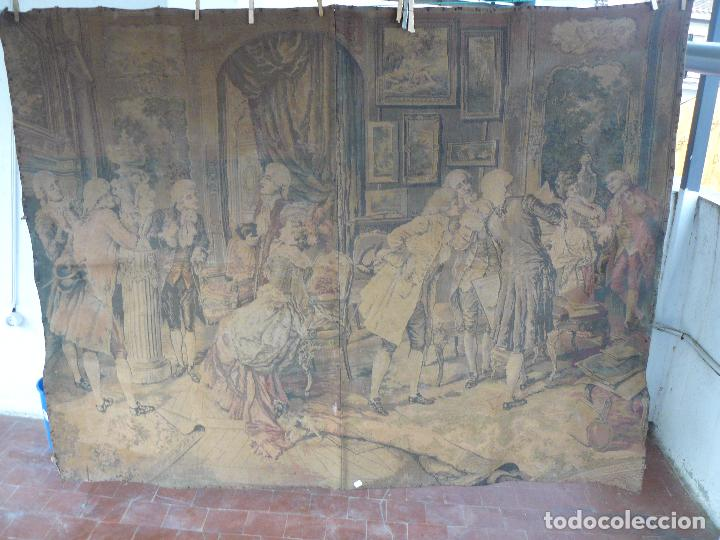 Antigüedades: ANTIGUO TAPIZ DE FINALES DEL SIGLO XIX- ESCENA CORTESANA - Foto 10 - 32785408