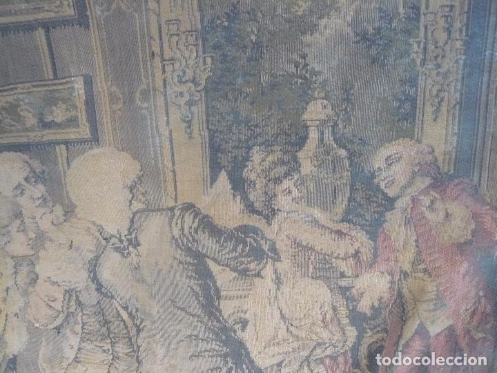 Antigüedades: ANTIGUO TAPIZ DE FINALES DEL SIGLO XIX- ESCENA CORTESANA - Foto 11 - 32785408