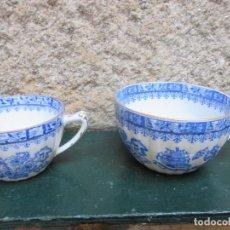 Antigüedades: DOS TAZAS DE ALVAREZ ( SANTA CLARA ) VIGO, DE JUEGO CAFE AÑOS 50 10.5 Y 8.5 CM DIAMETRO, EXCELENTE. Lote 86875576