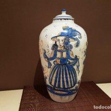 Antigüedades: RARO JARRON CON TAPA O TIBOR, GRAN TAMAÑO, DE TALAVERA, FIRMADO EN BASE. ANTIGUO.. Lote 86929732