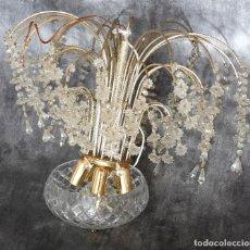 Antigüedades: LAMPARA DE CRISTALES , TIPO CASCADA, CON CRISTALES EN FORMA DE FLORES/ESTRELLAS. 50X50 CM. Lote 86930892