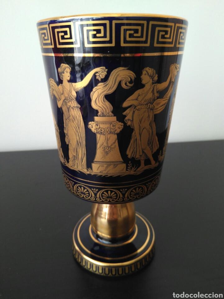 Antigüedades: EXCEKENTE Copa de Porcelana Greece eh 24k Gold - Foto 5 - 86942356