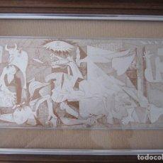 Antigüedades: REPRODUCCIÓN DEL GUERNICA DE PICASSO EN PLATA ENMARCADO CON CRISTAL. Lote 86964108