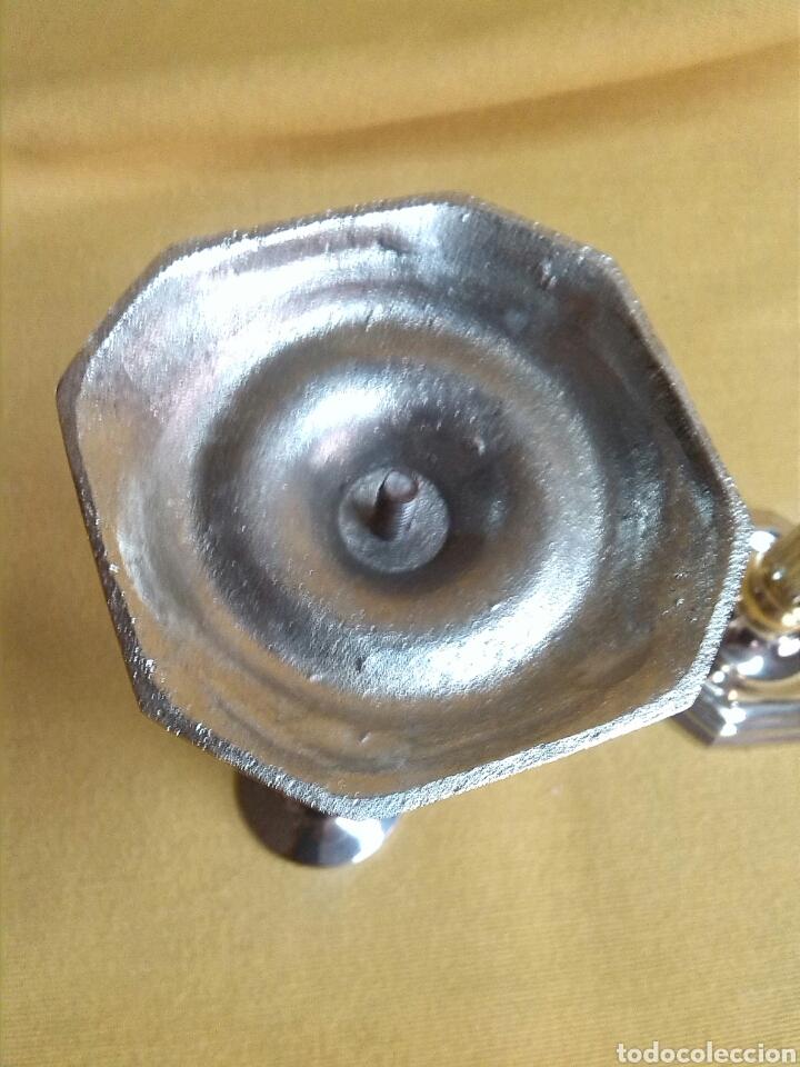 Antigüedades: Portavelas Dorado y Plateado - Foto 4 - 224204140