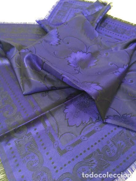 Antigüedades: Pañuelo de seda adamascado. Indumentaria tradicional. - Foto 3 - 86998988