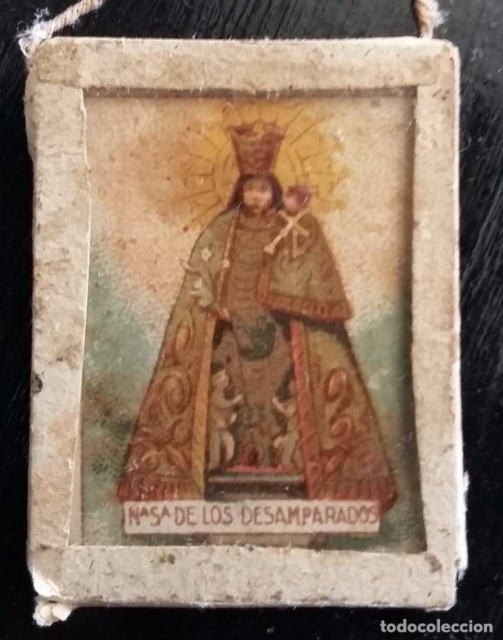 Antigüedades: ESCAPULARIO VIRGEN DE LOS DESAMPARADOS. LITOGRAFIA - FINALES S. XIX - Foto 2 - 87015672