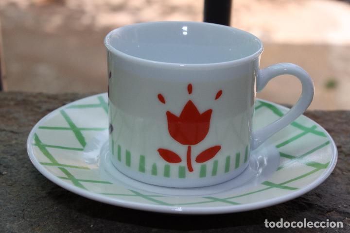 Antigüedades: TAZA DE CAFE CON MOTIVOS FLORALES - Foto 2 - 87079236