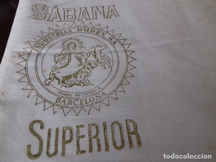 Antigüedades: ANTIGUO CORTE DE SABANA DE BUEN ALGODON. - Foto 2 - 87093696